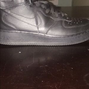 Black Air Force ones mid size 8